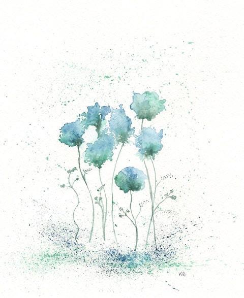 Blue Fields of Love/ Blue, Green, Flowers Watercolor Print