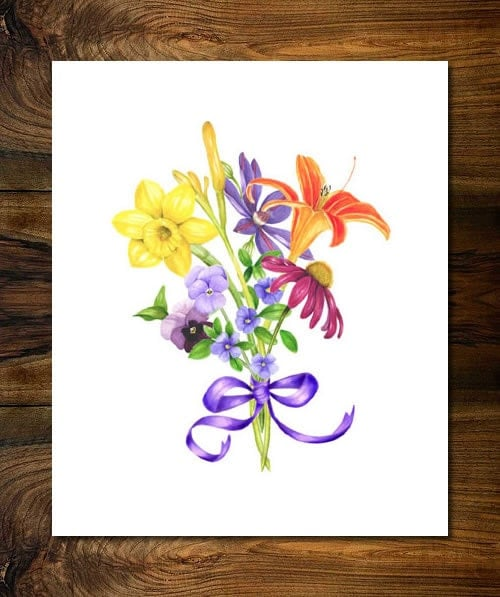"Mixed Bouquet Botanical Illustrated Print by Linda Kneeland (Size Small - 11"" x 14"") - LKBotanicals"
