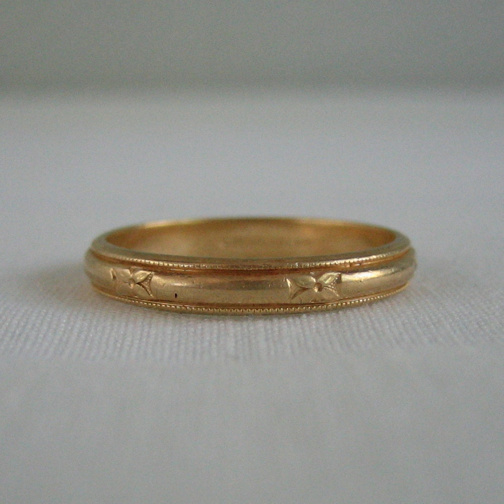 Vintage Mens Wedding Band Yellow Gold Circa 1940s Addy By Addy