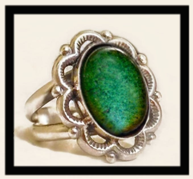 vintage mood ring set in heavy sterling by goodmoodgirl