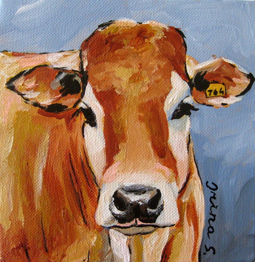 Ginger Cow Original Painting On Canvas By Irinashop On Etsy
