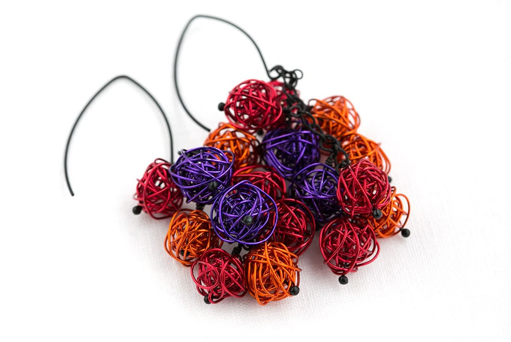 wire wrapped jewelry Earrings orange, red, purple handmade wire Balls on Matte Black Plated Metal Earring Hooks, very lightweight - goodrun