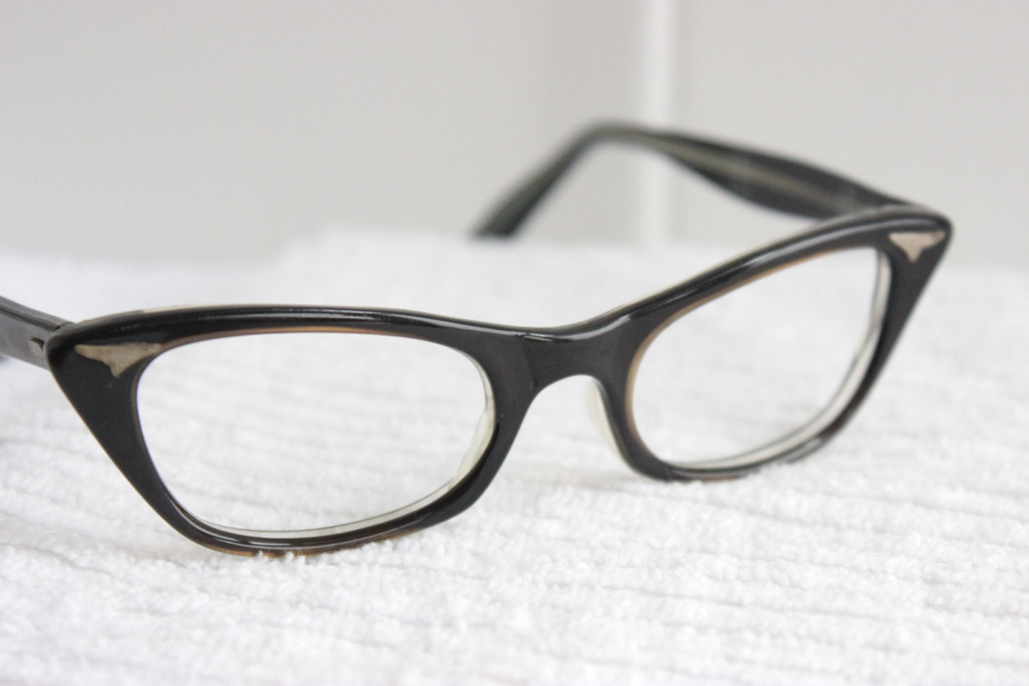 Small Frame Cateye Glasses : 50s Cat Eye Glasses 1960s Womens Eyeglasses Brown by ...