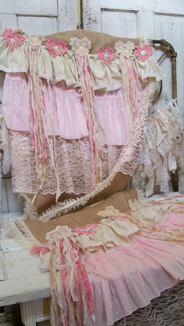 and burlap romantic shabby pink Large cream table  runner  runner handmade chic table handmade