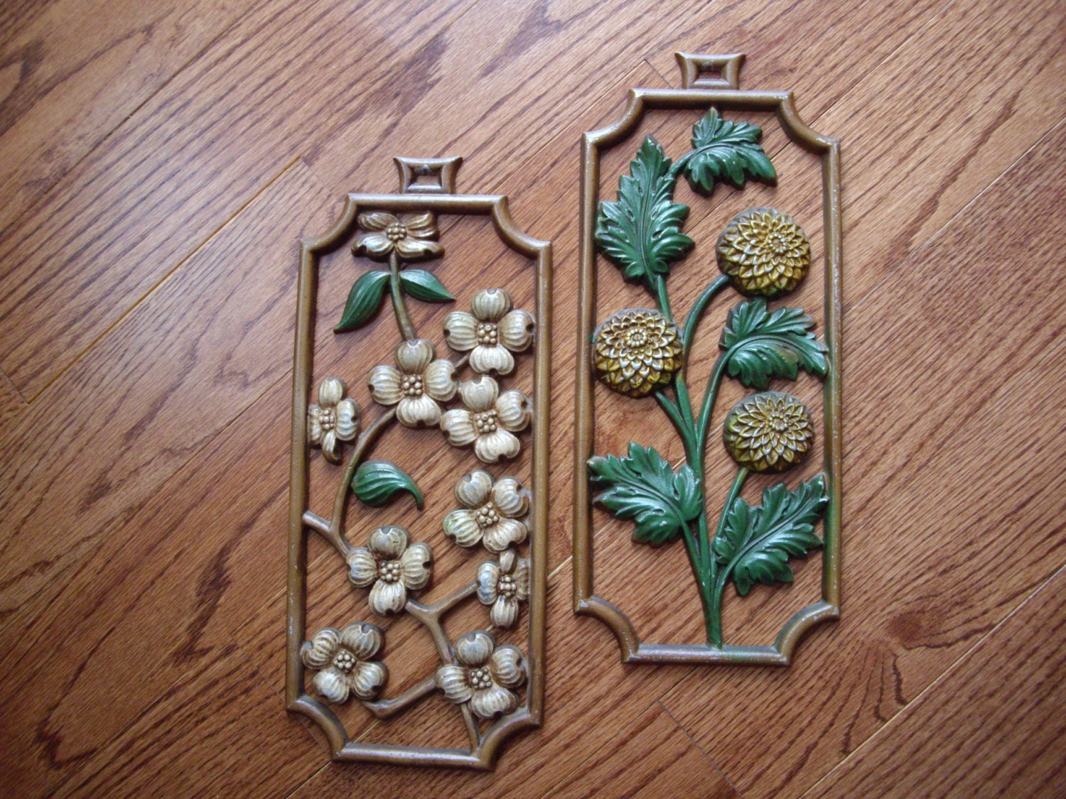 Oriental Metal Wall Decor : Vintage metal wall art asian floral plaque by