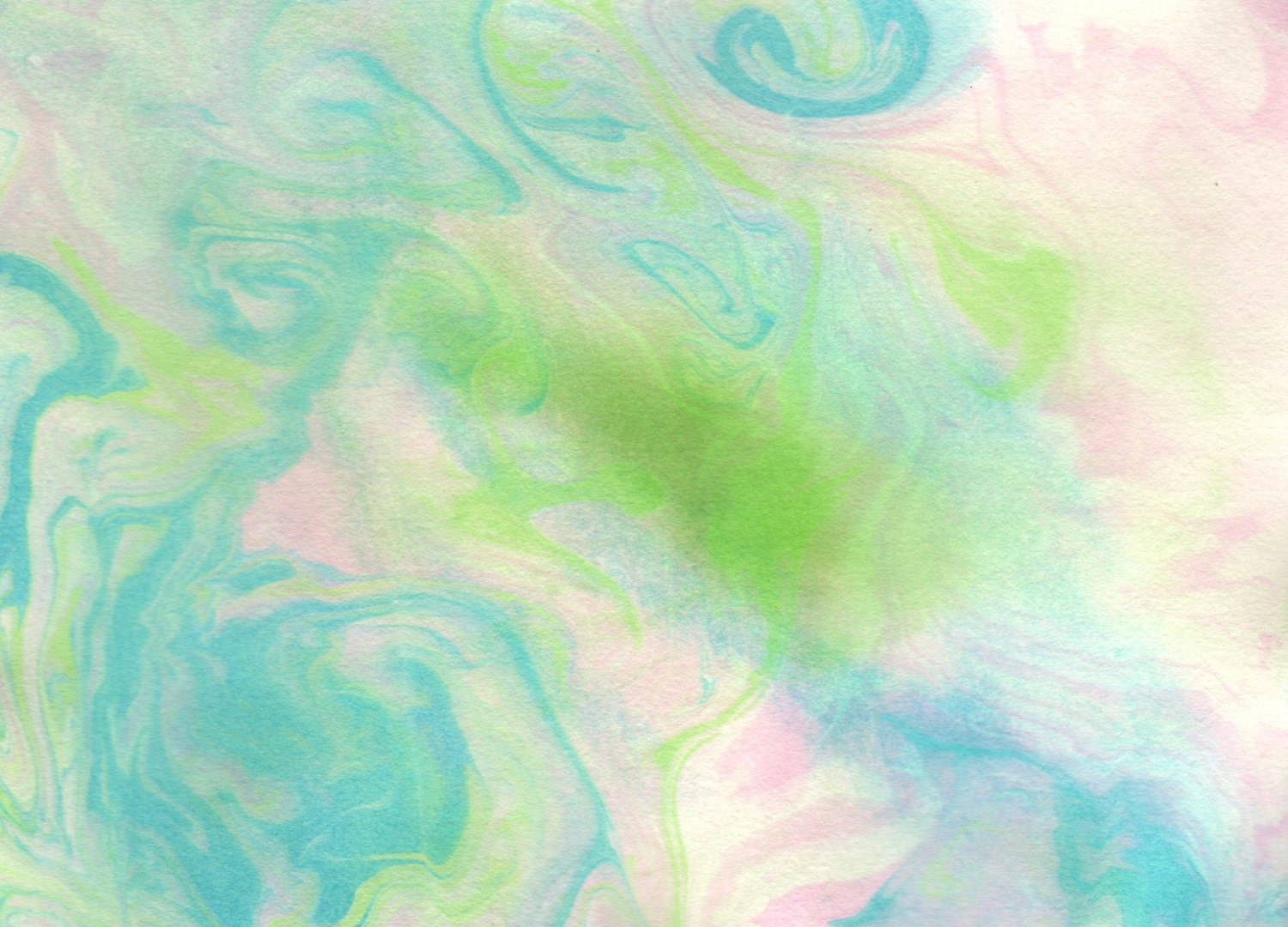 "Original Painting - 5"" x 7"" - Abstract - Blue, Green, Pink and White - 2014-72 - AidforAbby"