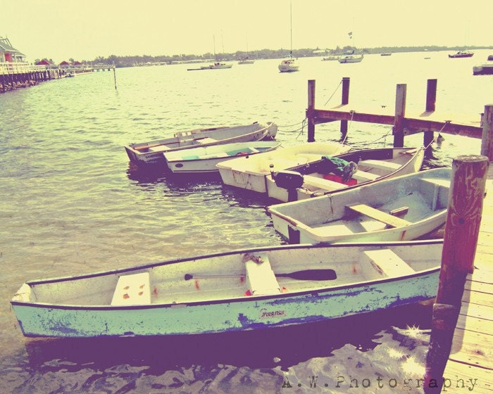 Docked Boats on Dock Vintage Feel Photography 8x10 Print - awpphotography