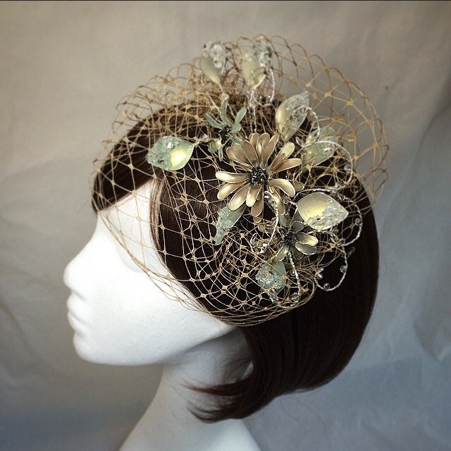 vintage fascinator whimsical tiara veiled headdress gold tiara green flower fascinator unique fascinator