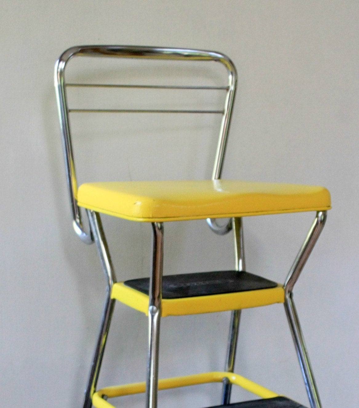 vintage yellow cosco step stool chair by mygrandfathersattic. Black Bedroom Furniture Sets. Home Design Ideas