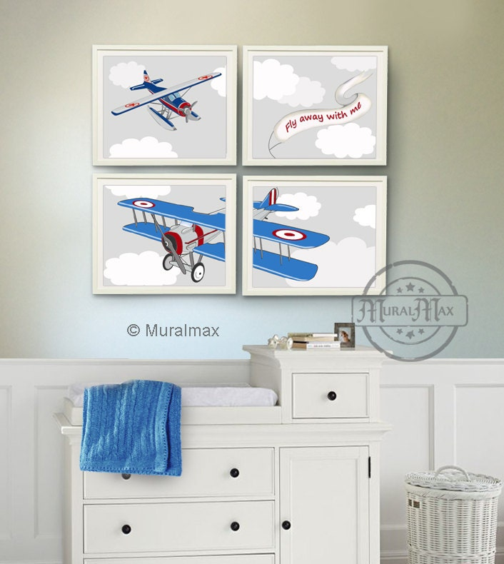 Airplane decor boy nursery art print navy blue and by muralmax Vintage airplane decor for nursery