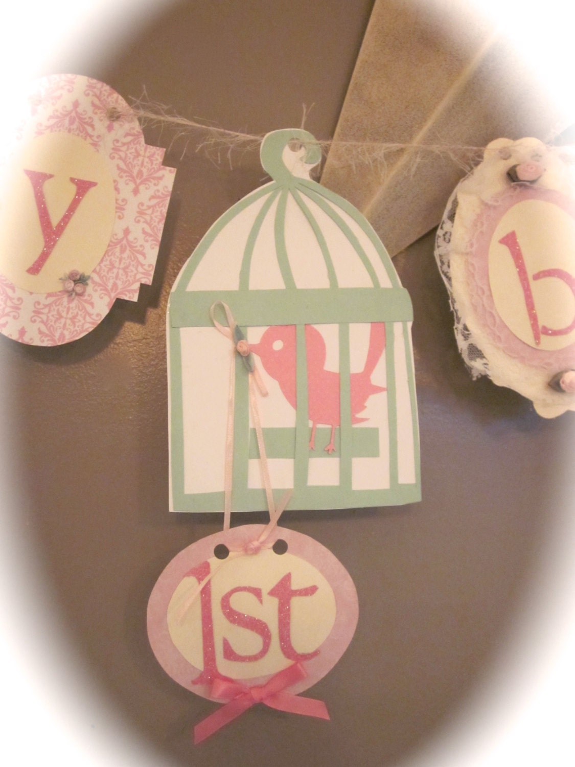 Happy first 1st Birthday Banner girl birthday party sign decorations ...