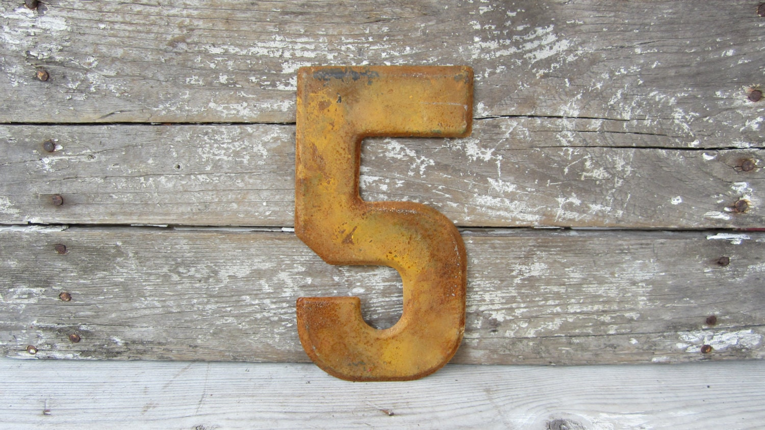 Vintage Metal Chippy Number 5 Sign Painted Mustard Yellow and  Rusty Marquee Metal Letter - TheOldTimeJunkShop