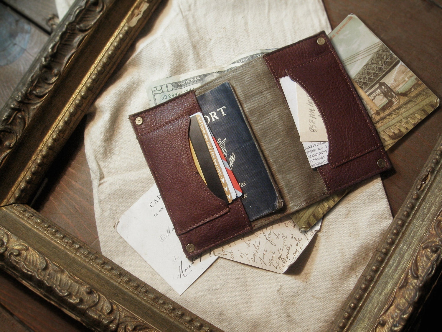 Passport Wallet - Leather & Canvas