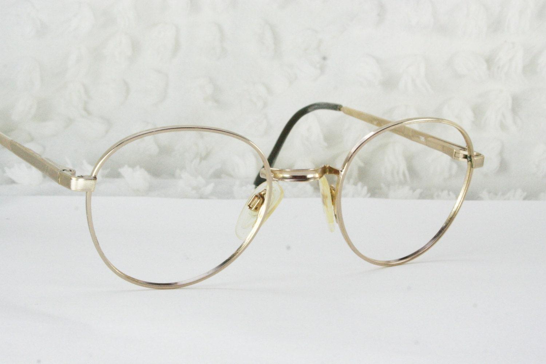 90s glasses 1990s metal eyeglasses round gold wire rim saddle bridge