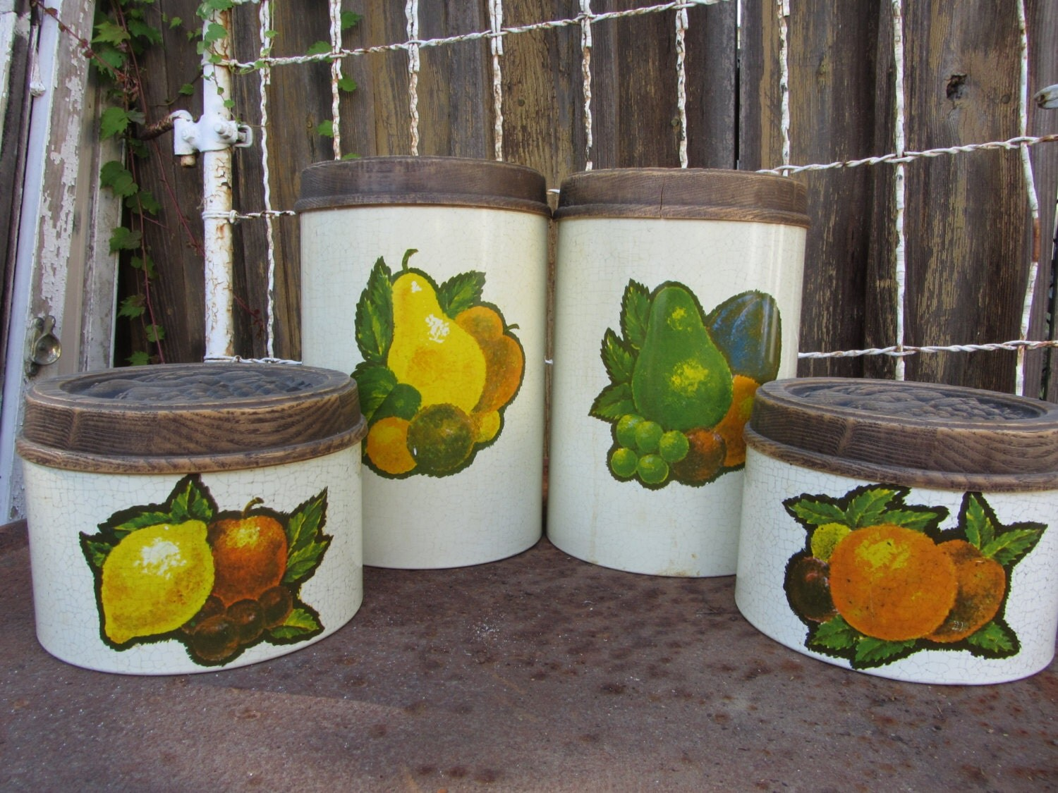 Items Similar To Vintage Cheinco Metal Canister Set With Colorful Fruit And Plastic Wood Grain
