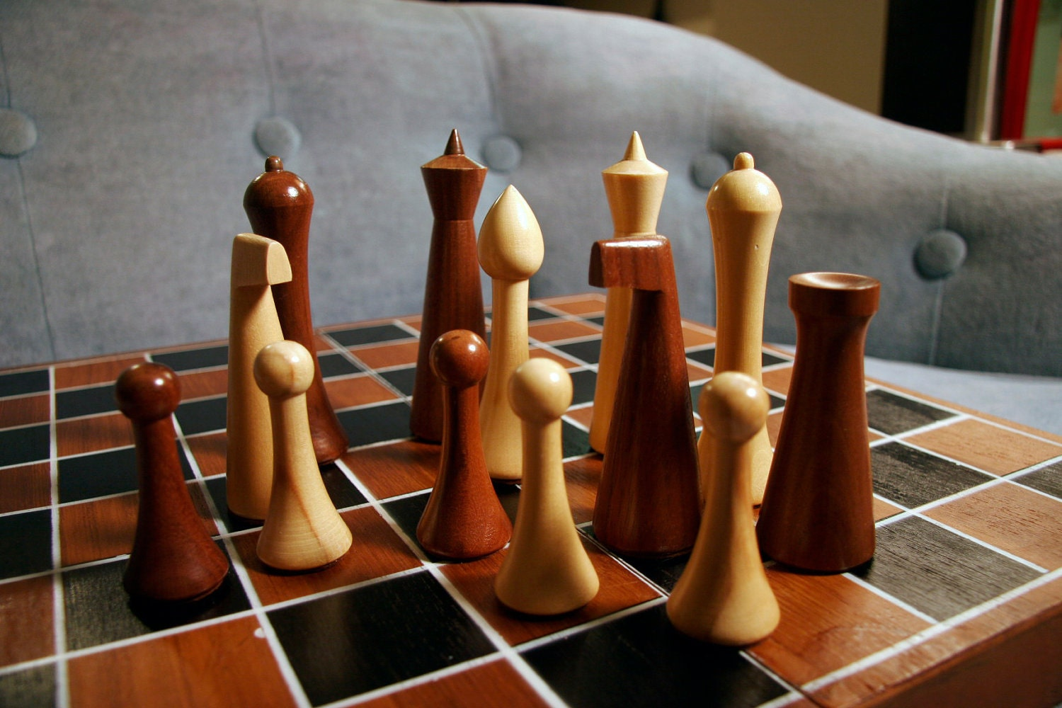 Mid Century Modern Hermann Ohme Wooden Chess By