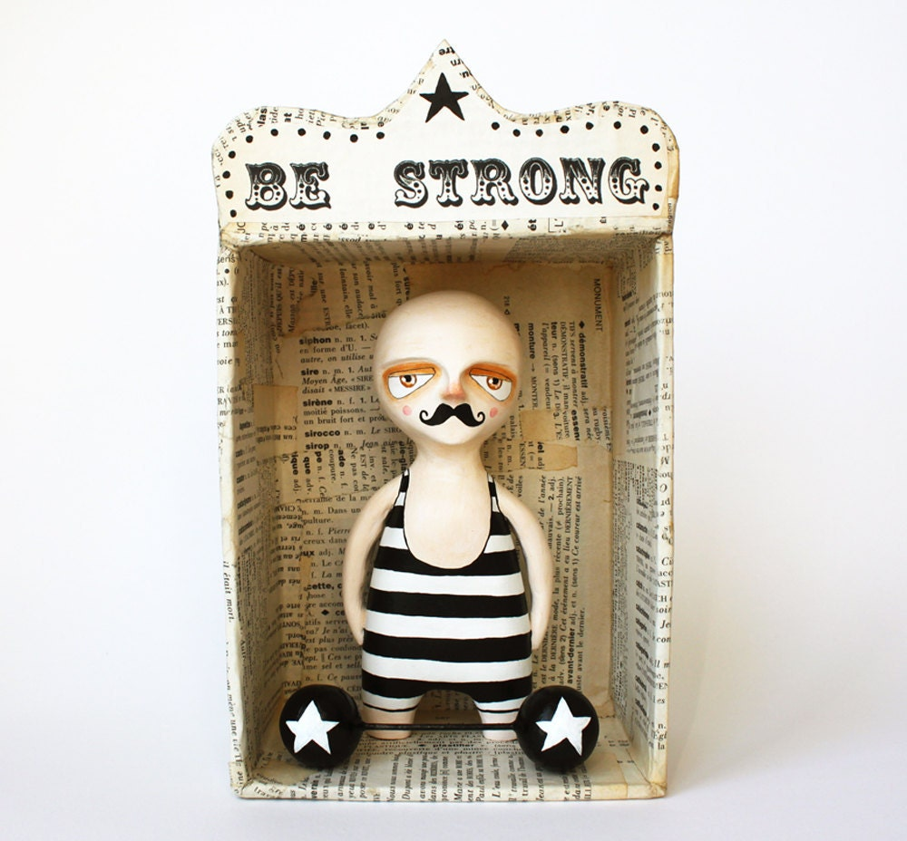 Art doll set - Wall sculpture and paper mache box- Circus figurine - Be strong