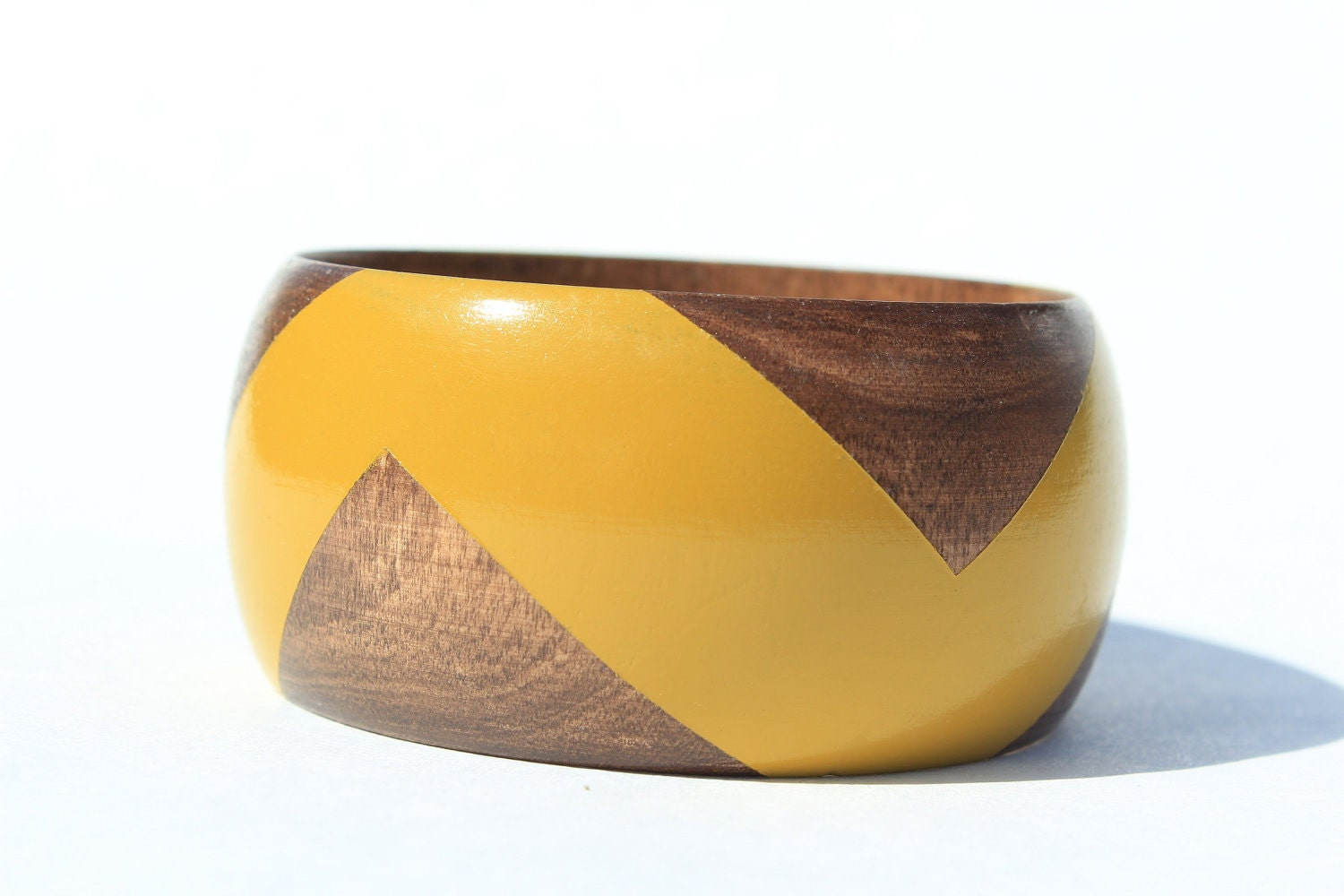 Mustard Stained Wood Bangle- S-XL - vozclothingandart