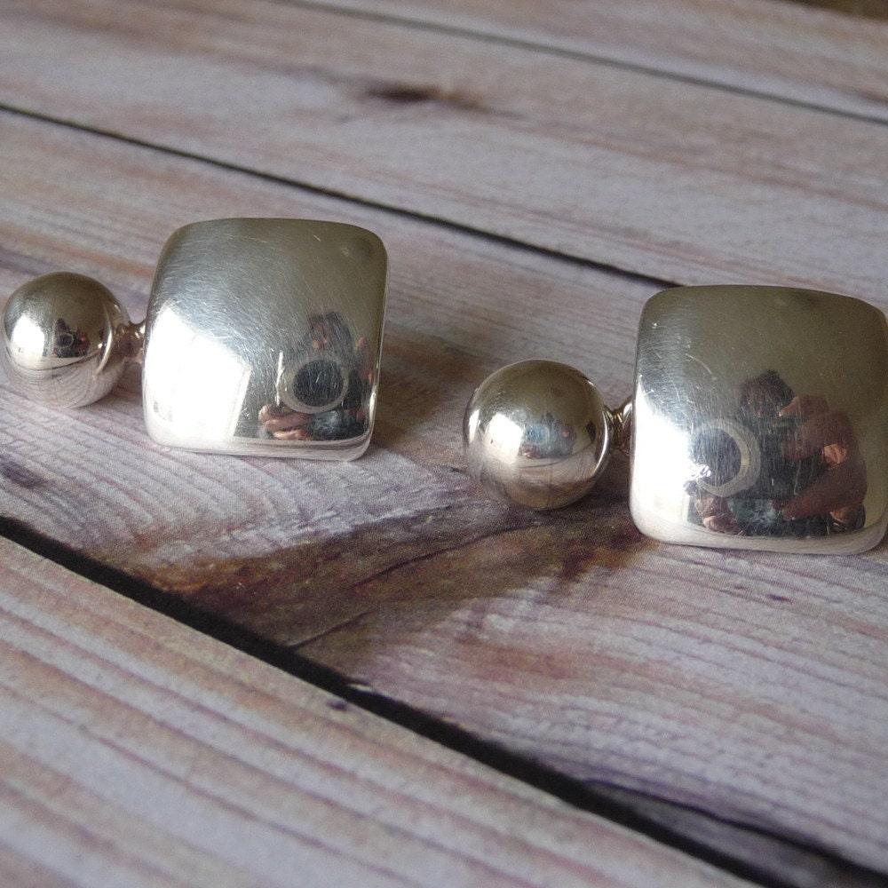 Vintage Sterling Silver Earrings, Mexican Silver Earrings, Pierced Earrings, Signed Jewelry, E055 - VLLDesigns