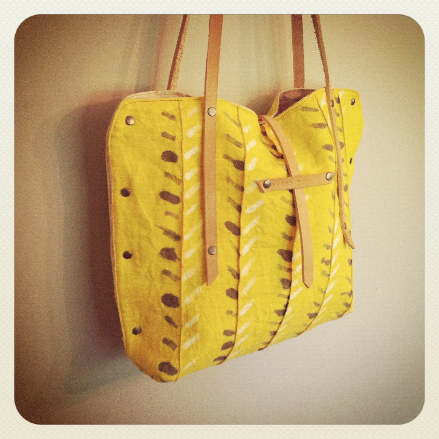 plant dyed // hand painted // european linen tote // beeswaxed leather // rivets - ardenandjames