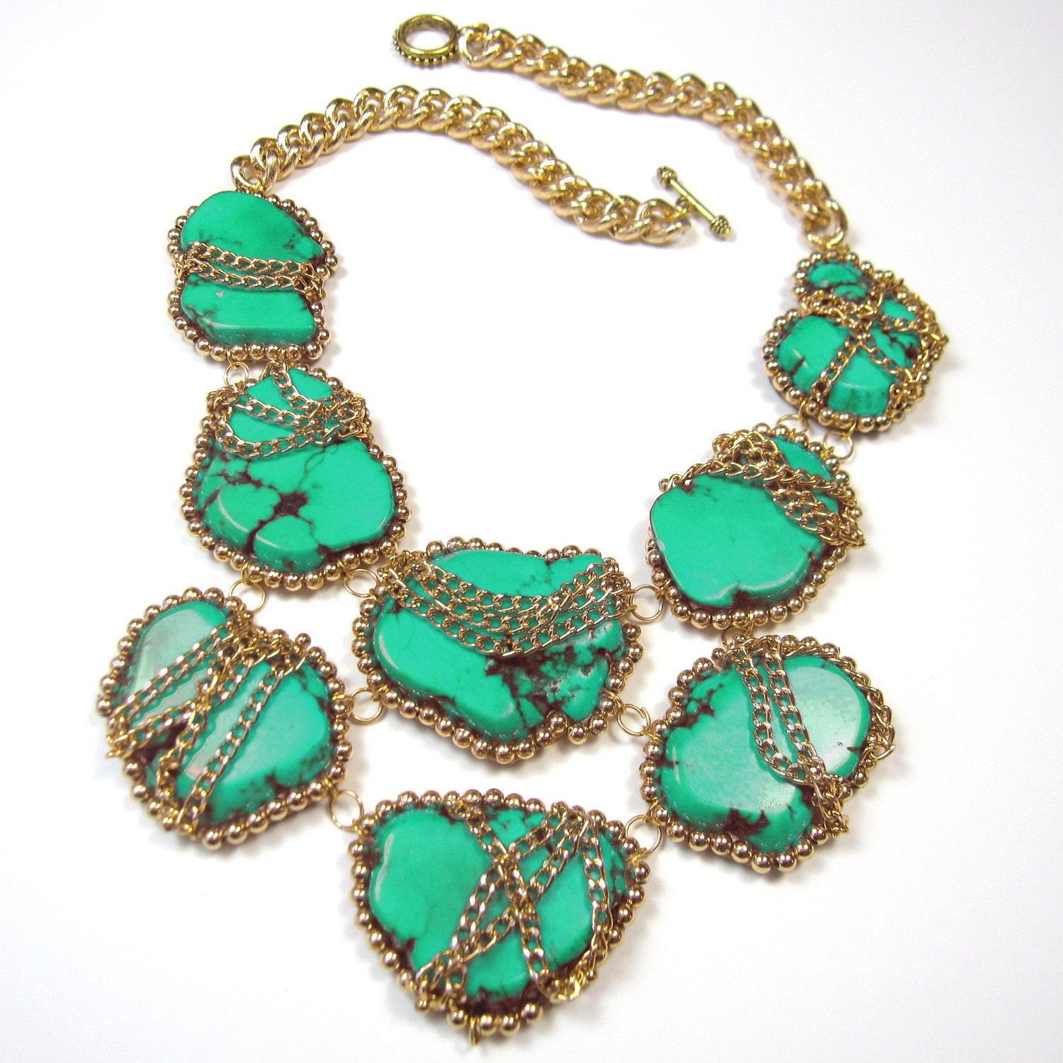 turquoise statement necklace turquoise and gold by