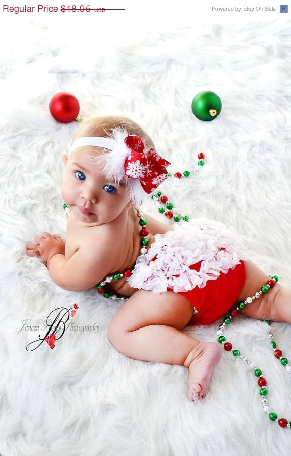 Christmas set chiffon ruffle bum baby bloomers and snowflake headband