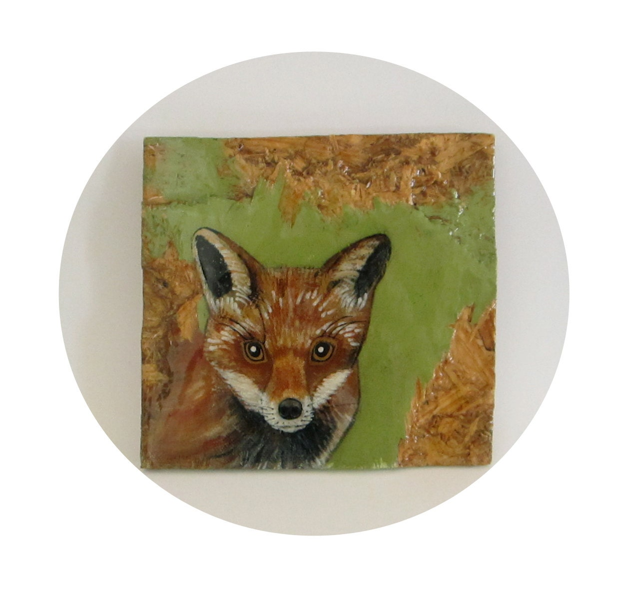 Rustic Home Decor L Red Fox 8x8 Painting L By Redtilestudio