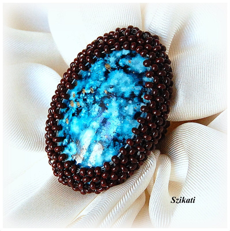 Beaded turquoise brown ring, unique autumn fashion, fall colors, OOAK
