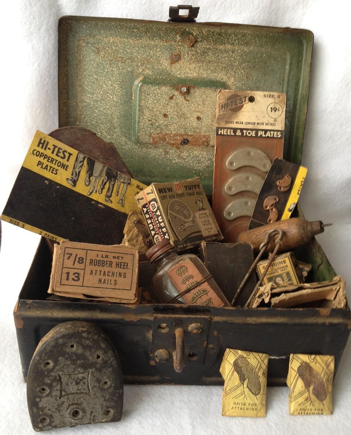 Vintage Cobbler Box, Antique Shoe Repair Kit, 1940's Rusty Storage