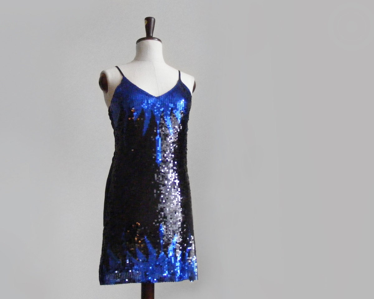 Blue & black sequin dress small, extraordinary mini sequin dress, party dress with sheer back - plot
