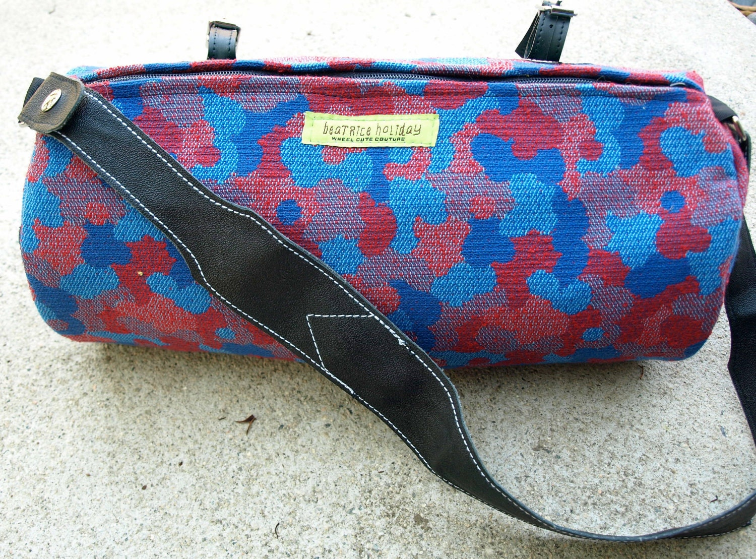ROBERTA  -- Vintage Upholstery Handlebar Bike Bag with Recycled Innertube Shoulder Strap