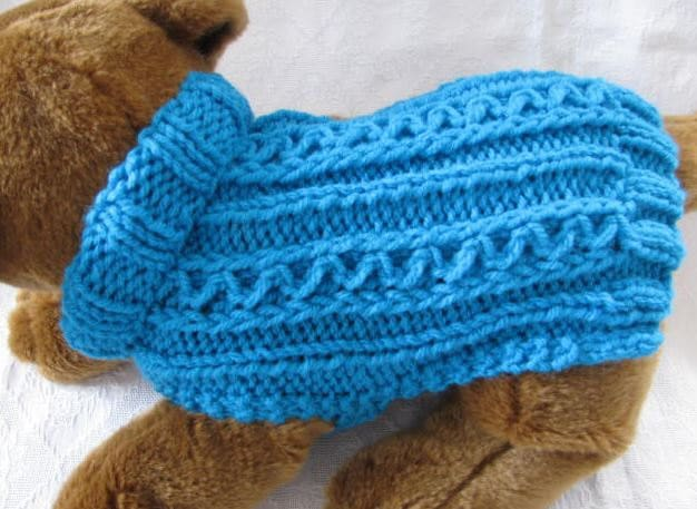 Knit Dog Sweater knitting pattern Zig Zag Rib by KnittyDebby