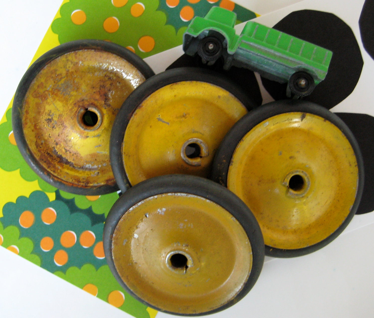 Vintage set of yellow metal toy wheels by zuzuandolive on etsy