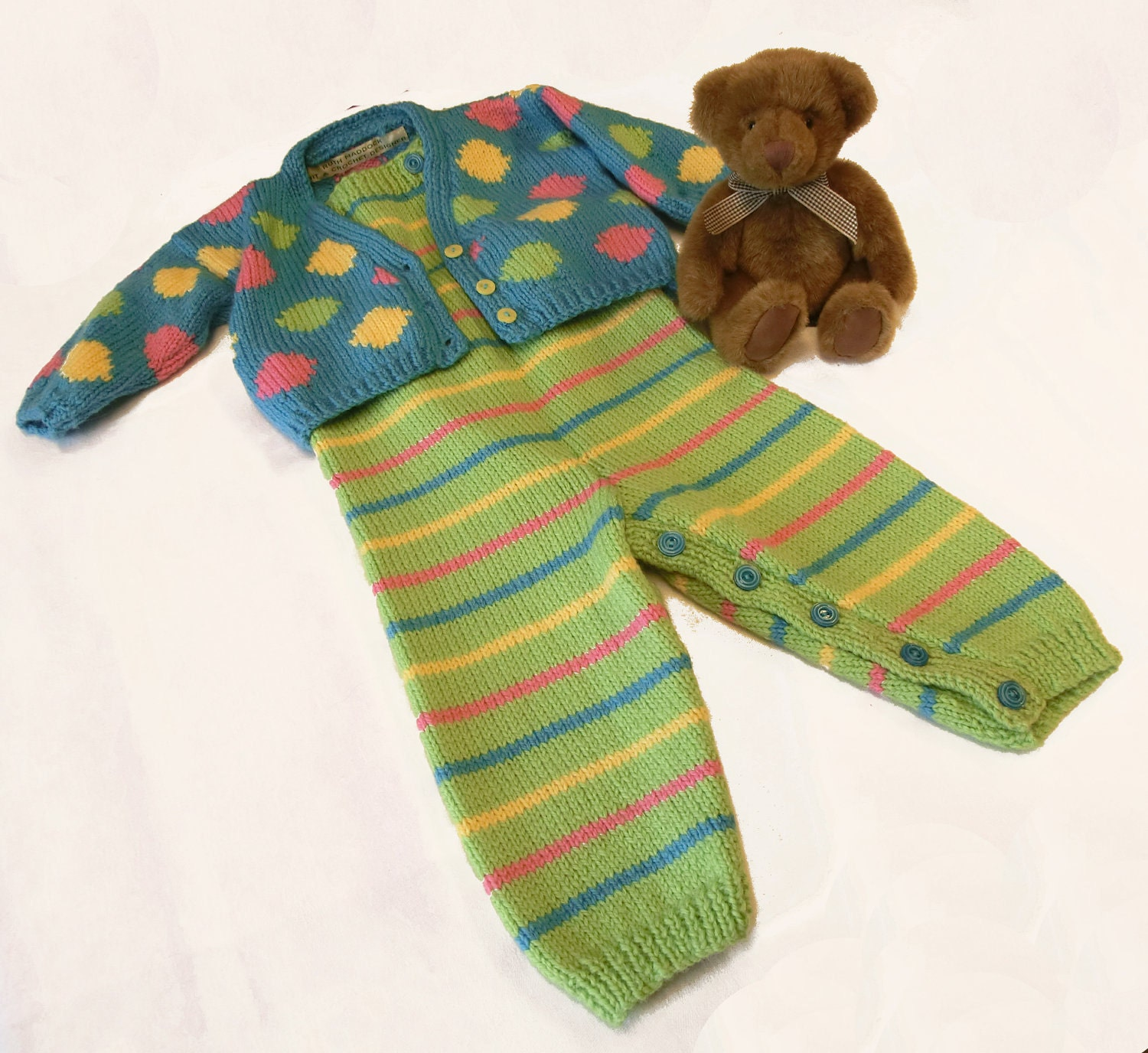 Knitting Pattern for Baby Dungarees and Cardigan by RuthMaddock