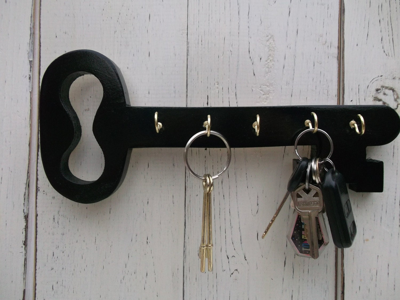 Wood key holder key hookscottage decor hang by for Mural key holder