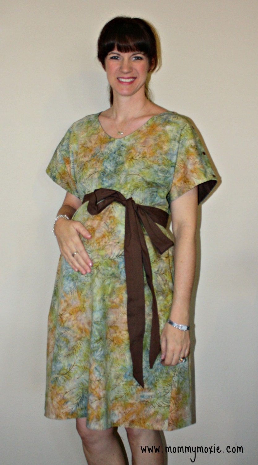 Asher Maternity Hospital Gown - Brown Green Batik Print - Lined in Your Choice of Colors - By Mommy Moxie on Etsy Deliver in Style - MommyMoxie