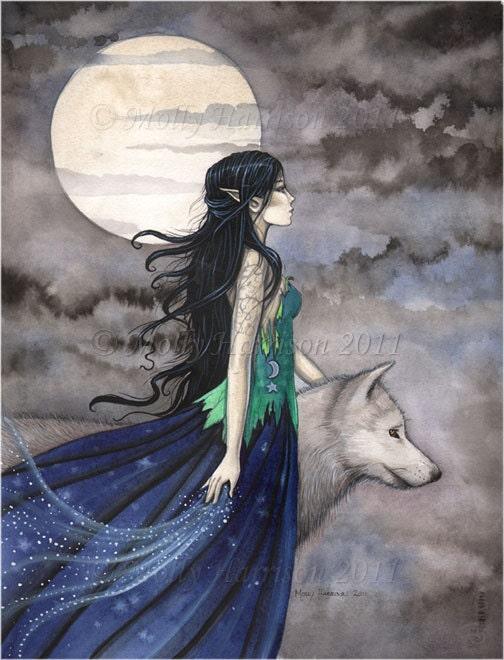 Witch With Wolf Gothic Fantasy Fine Art