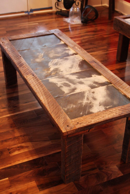 Reclaimed roofing slate top coffee table by reclaimedart717