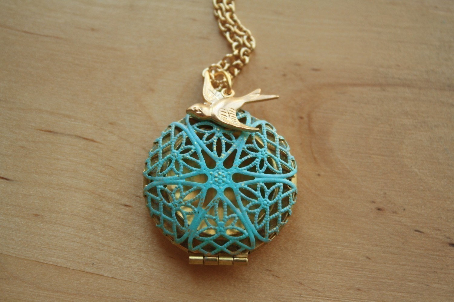 Blue Filigree Locket, Long Fashion Pendant Necklace, Gold Bird Charm, Two Tone Metal Jewelry, Unique Jewellery, Round, Transparent - FreshyFig