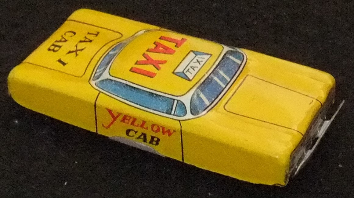 Yellow Taxi Cab tinplate vintage c1960s toy car made in Japan