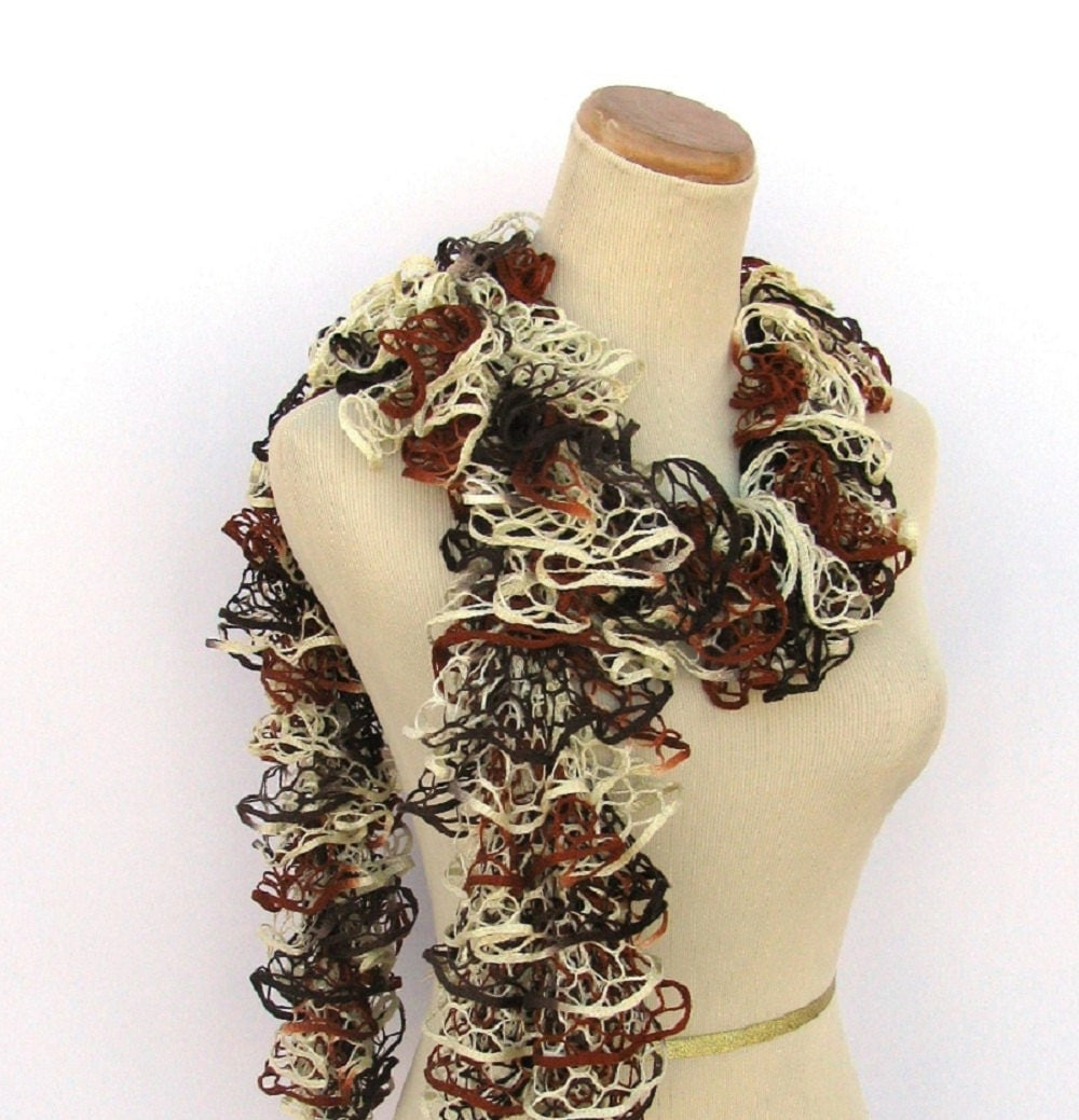 Hand Knit Ruffled Scarf - Brown Rust Tan Cream