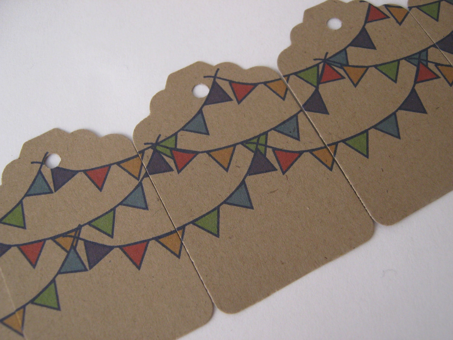 Pendant Bunting Kraft Brown Tags - Set of 100
