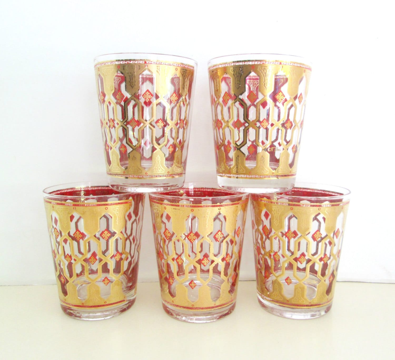 Vintage Fancy Barware Glassware Set Holiday Party Entertaining - looseendsvintage