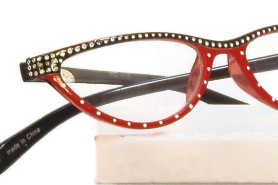 white dots reading glasses handpainted in with by