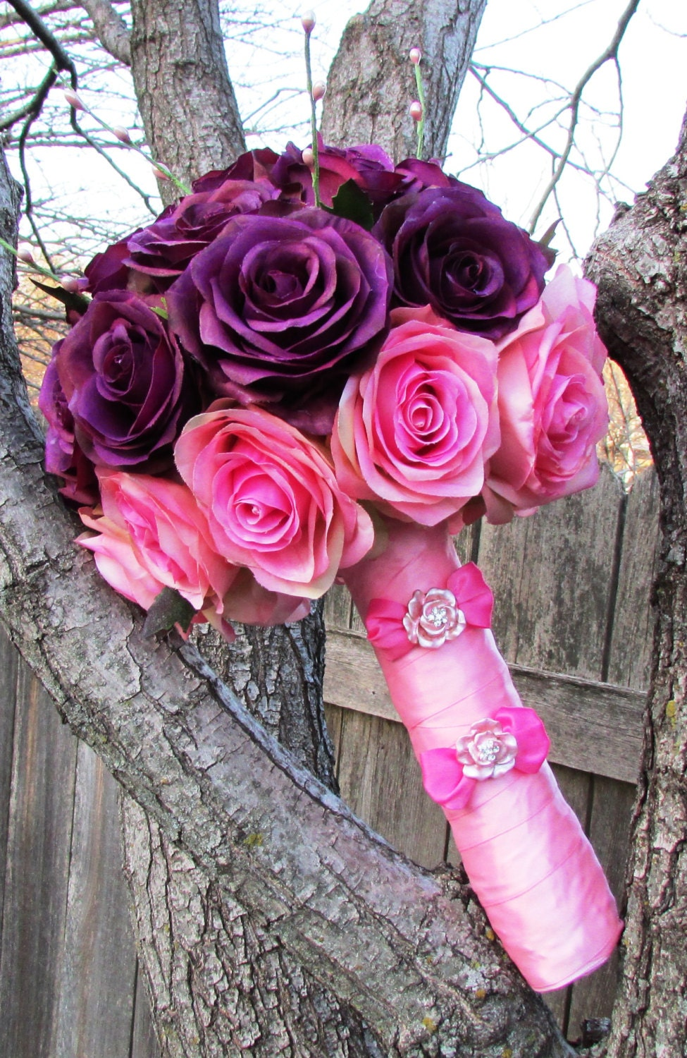 Purple and Pink Roses 2014 Chic Silk Flower Bridal Bouquet