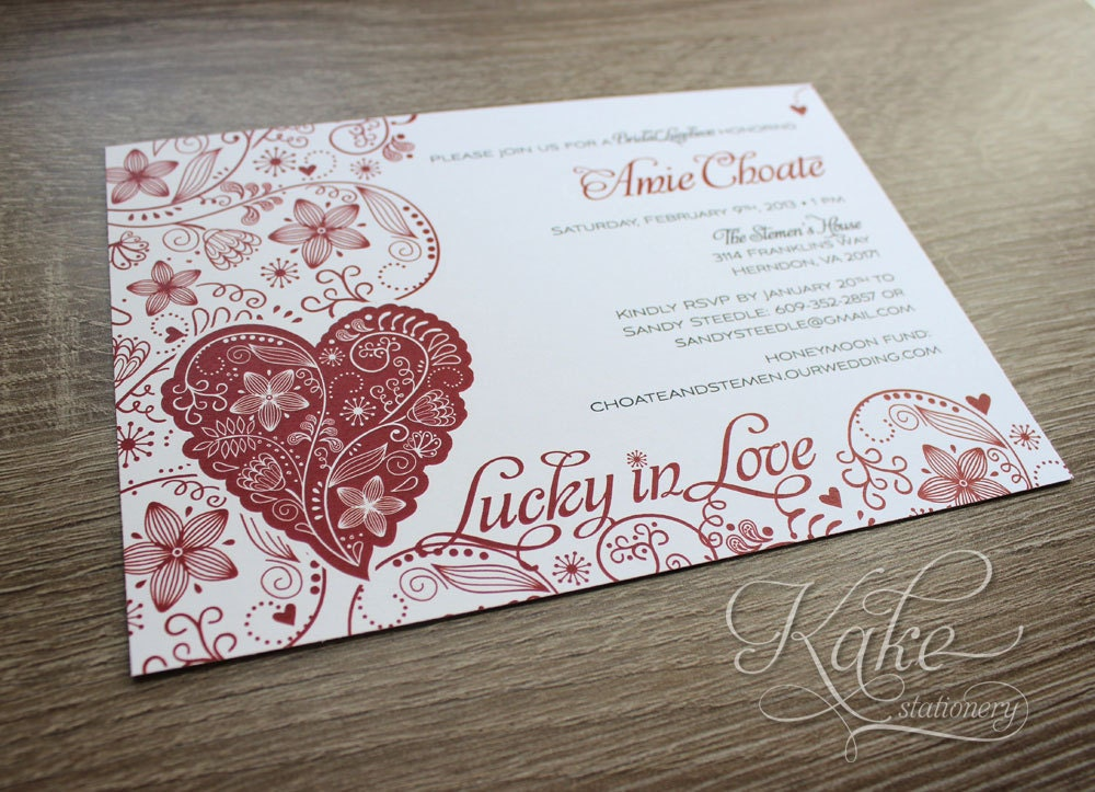 Items Similar To Lucky In Love Bridal Shower Invitation DIGITAL FILE On Etsy