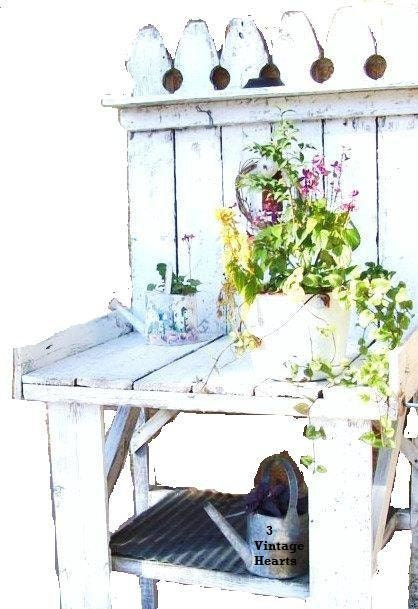 garden potting table white shabby chic cottage rustic farmhouse