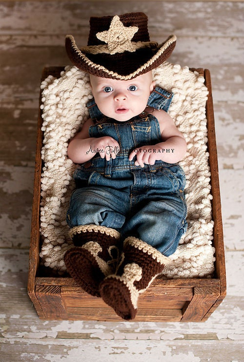 Baby cowboy hat and boots chocolate brown and tan newborn and beyond