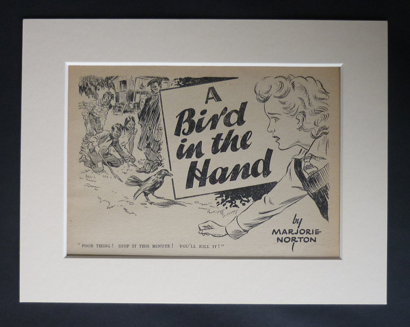 1940s Antique Girls Story Print A Bird in the Hand Decor Available Framed Vegan Art Animal Rights Picture Gipsy Caravan School Girl