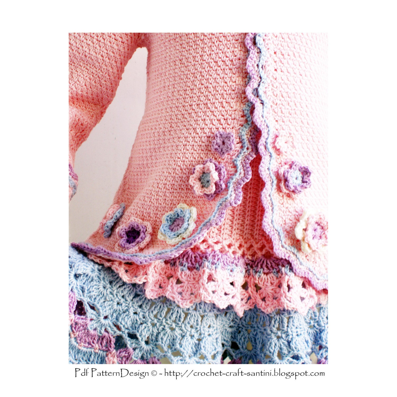 Crochet Flower Cardigan Pattern : Crochet Cardigan Girl Pattern Pink Jacket by PdfPatternDesign